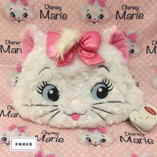 🚚 ♪ 草莓繽紛屋〃日本迪士尼購入【全新】瑪麗貓Marie 毛絨絨大頭造型兩用抱枕(內附超可愛收納毯/毛毯)