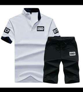 2018 New V Neck T shirt Men Polo Shirt Set Summer Tshirt