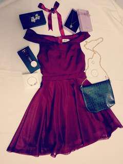 Off Shoulder Dinner Dress (Maroon Red)