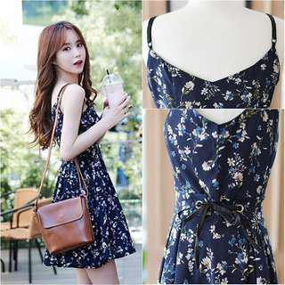 🔥READYSTOCK🔥 Brand New Navy Floral Flare Dress