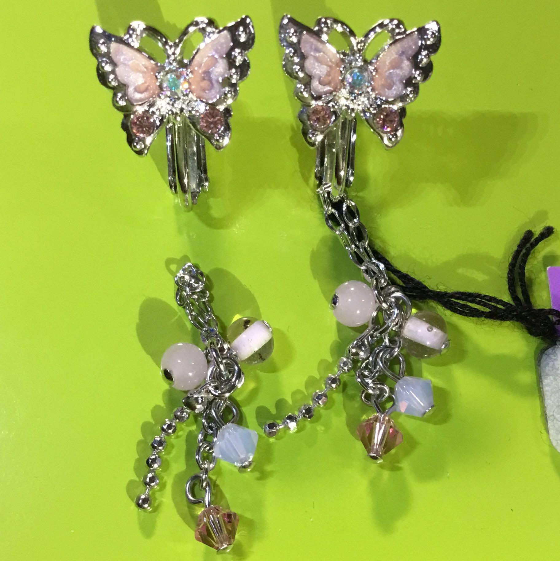 Anna Sui全新限量正品水鑽粉紅色蝴蝶附可拆式粉彩珠珠垂墜吊飾夾式耳環安娜蘇