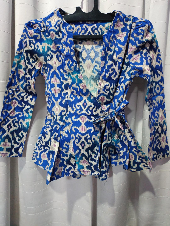 Atasan Batik Wanita Kemeja Batik Peplum Model Hanbok Kimono