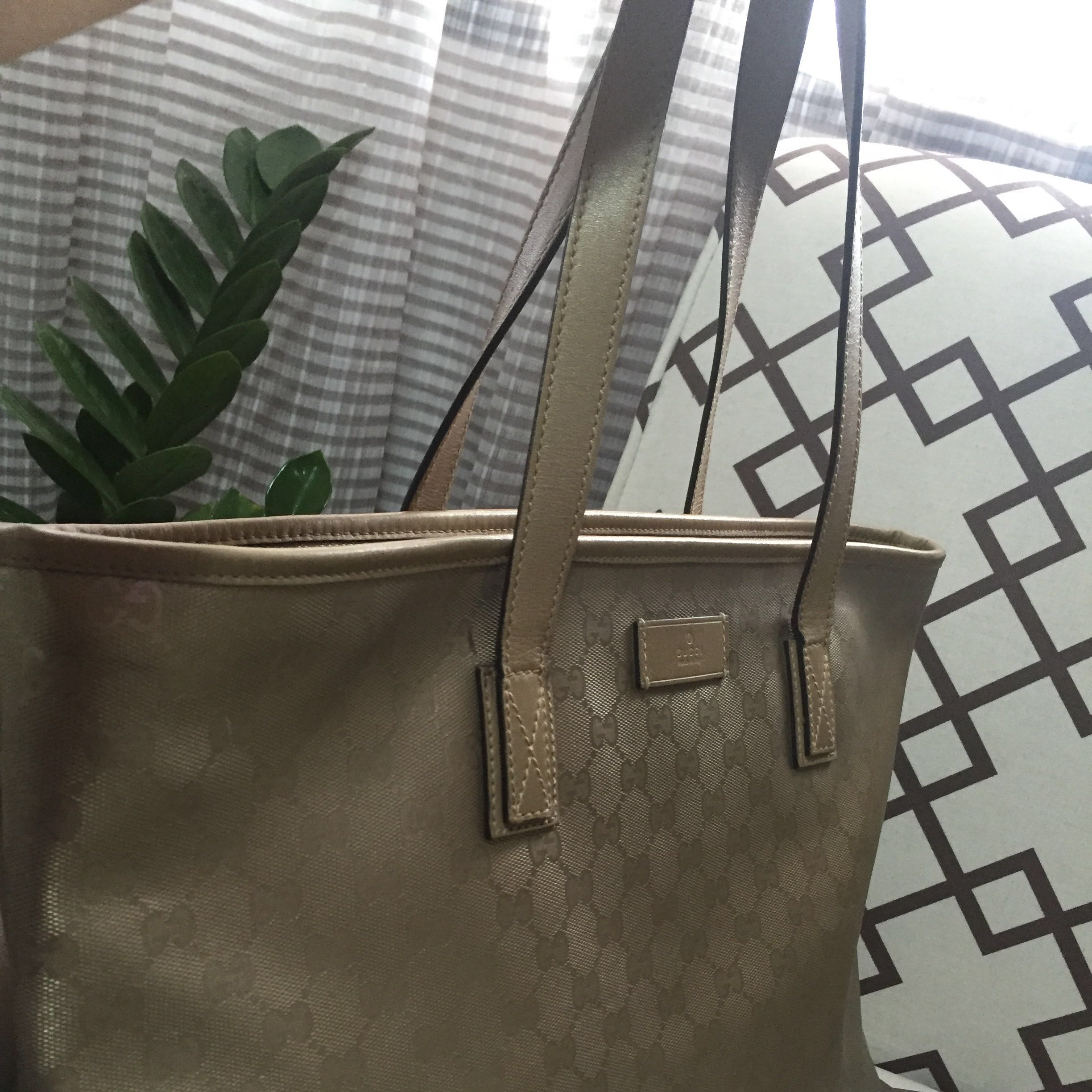 Authentic Gucci Imprime Monogram Medium Tote Champagne 536eea3bfeb7a