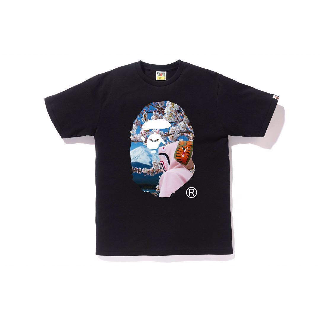 5cd91a4fc Bape Ape Head Sakura Black Tee XL size, Men's Fashion, Clothes, Tops on  Carousell