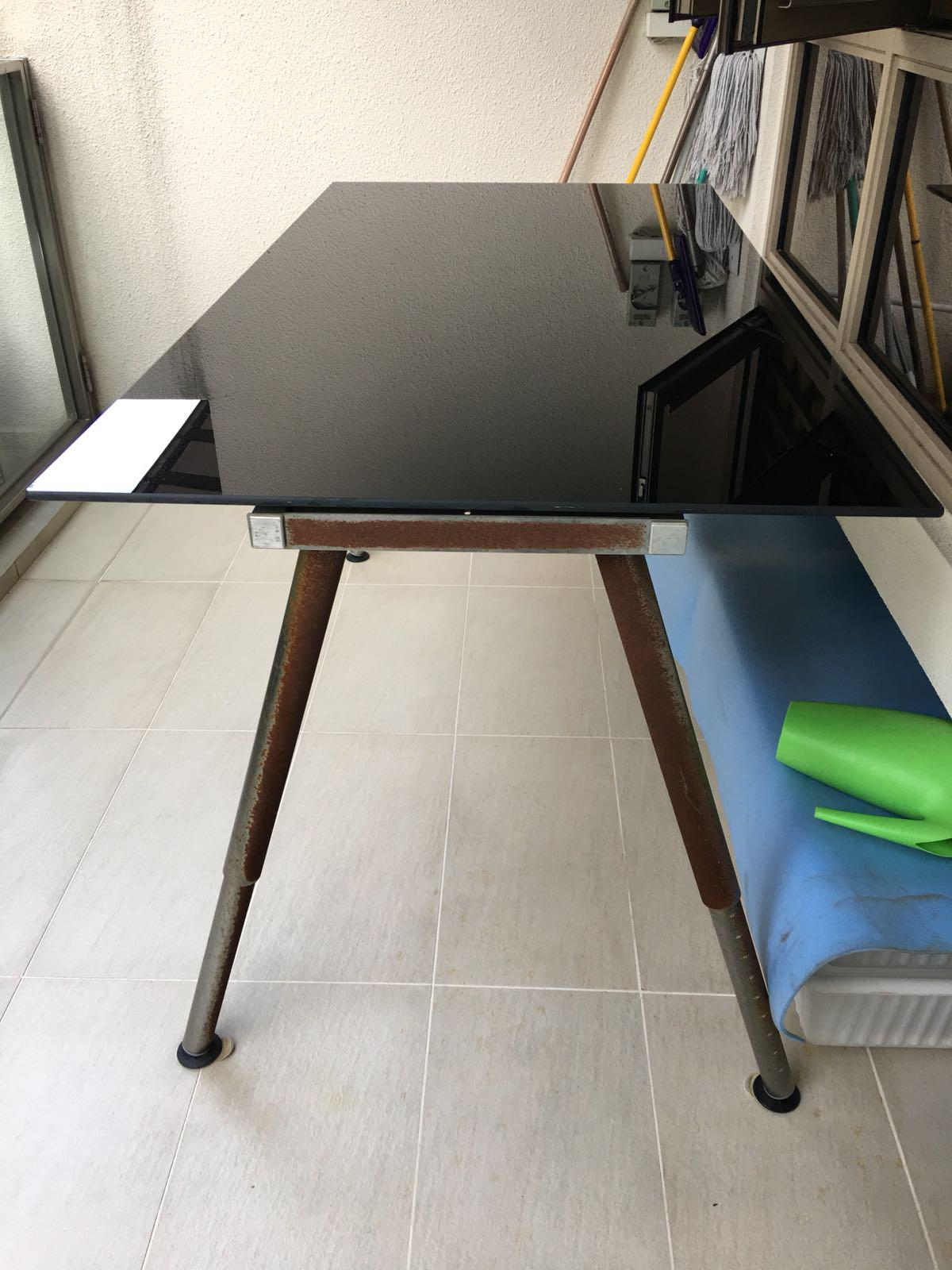Picture of: Black Tempered Glass Table Study Desk Ikea Furniture Tables Chairs On Carousell