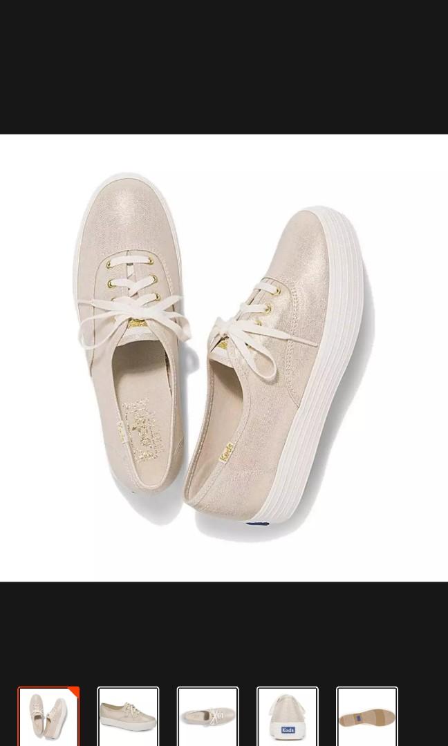 413b7069eb32 BNIB Keds metallic gold linen sneakers in size 8, Women's Fashion ...
