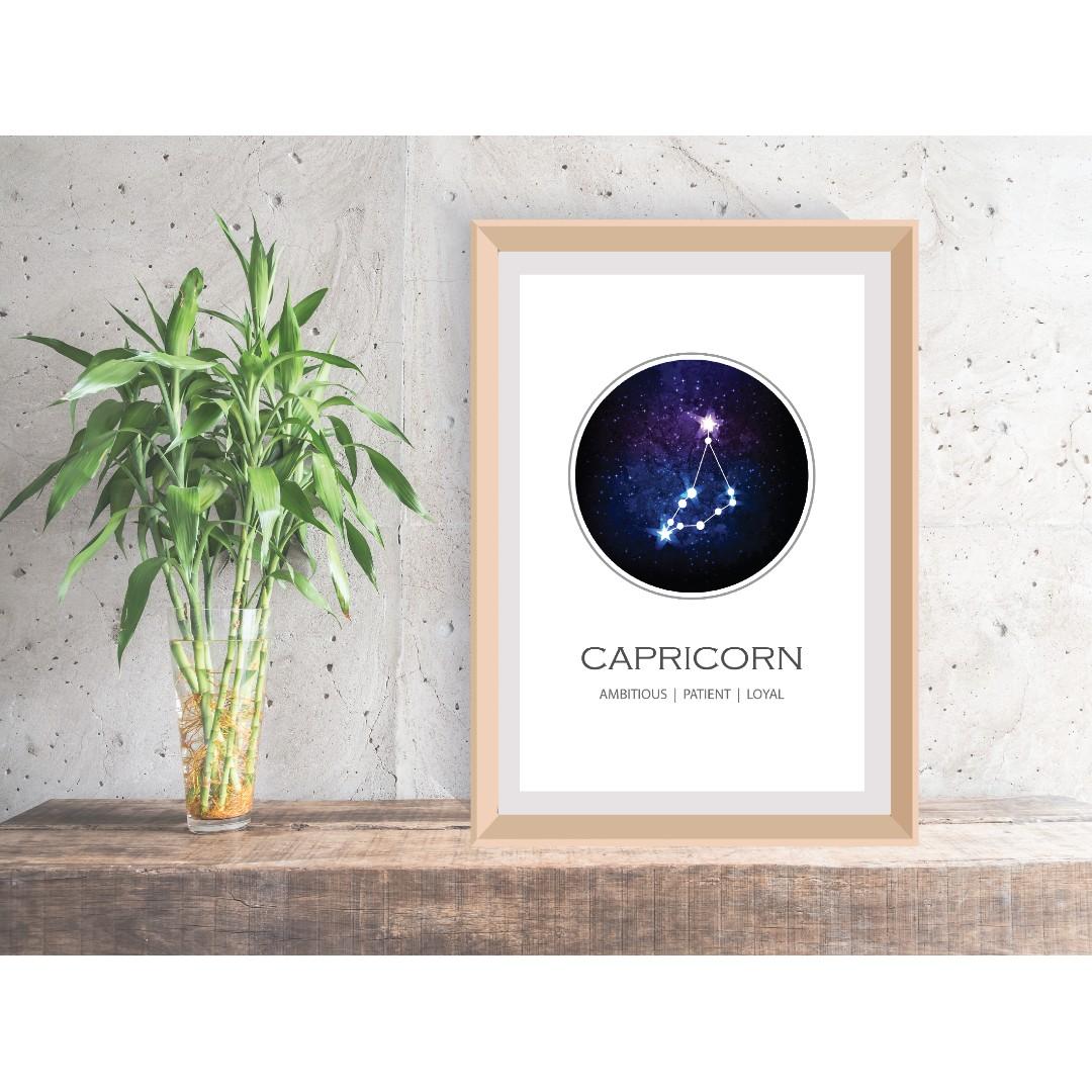 Capricorn Constellation Print, Zodiac Gift Capricorn, Zodiac