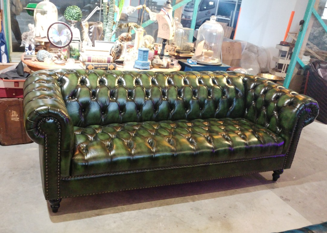 Chesterfield Sofa Vintage Green Furniture Sofas On Carousell