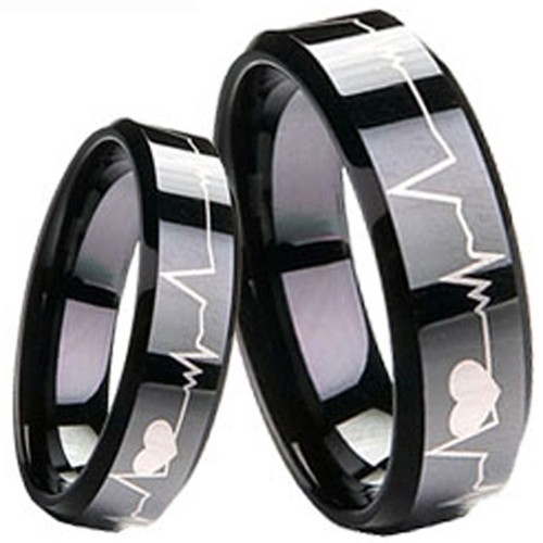 fbd47a771217d coi jewelry tungsten carbide black color heartbeat wedding band ring 戒指