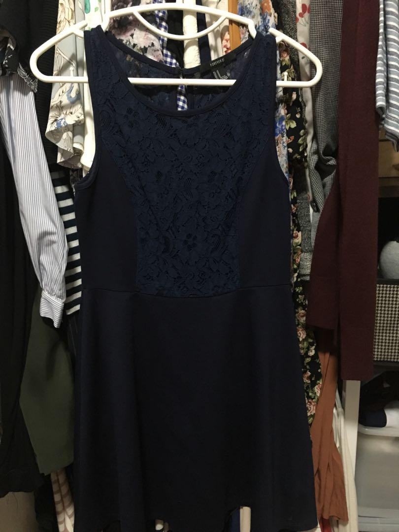 Forever21 Navy Blue Lace Dress M On Carousell