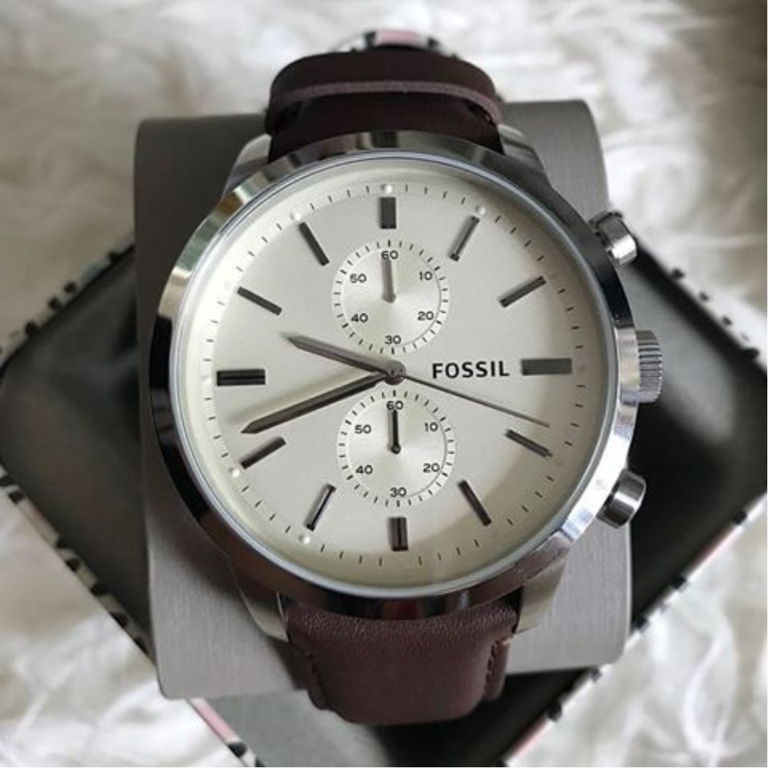 b2fd544e2 Fossil Mens Townsman Stainless Steel Watch with Brown Leather, Men's ...