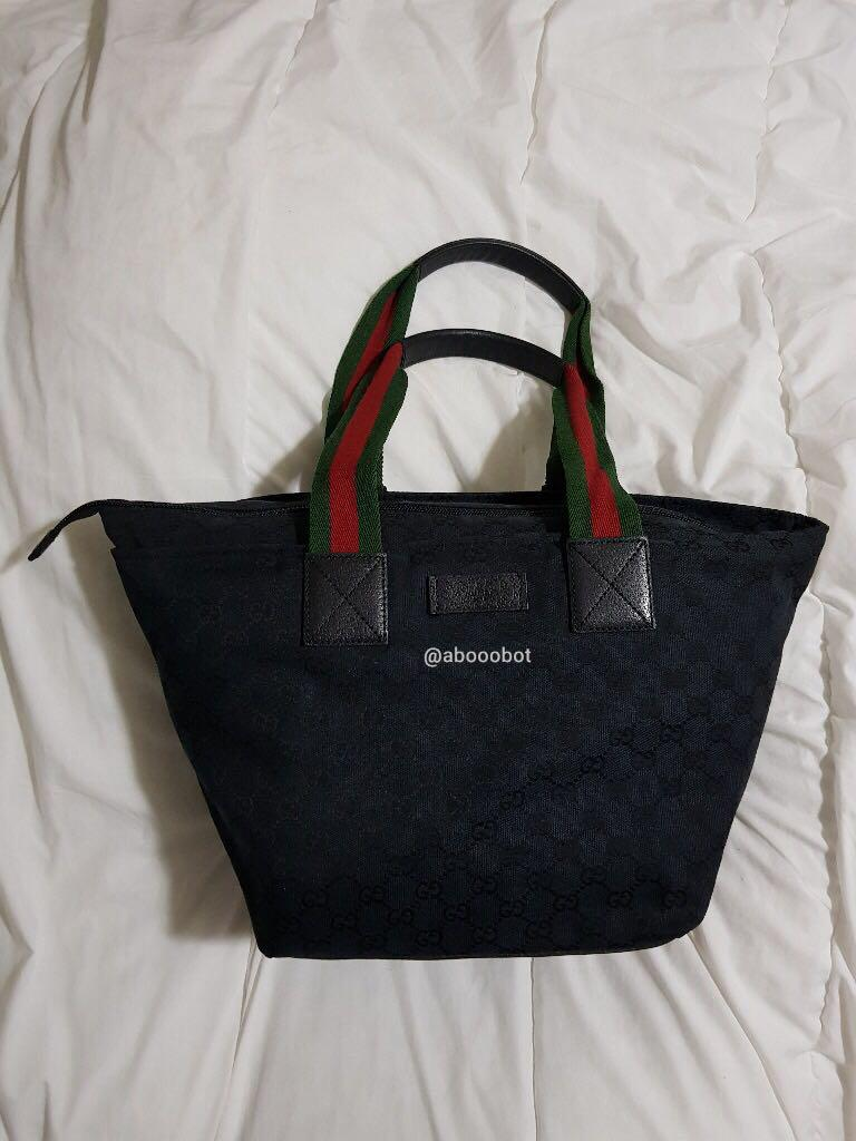 131230 gucci gg canvas web tote 131230 f4f5r 1060 black on carousell