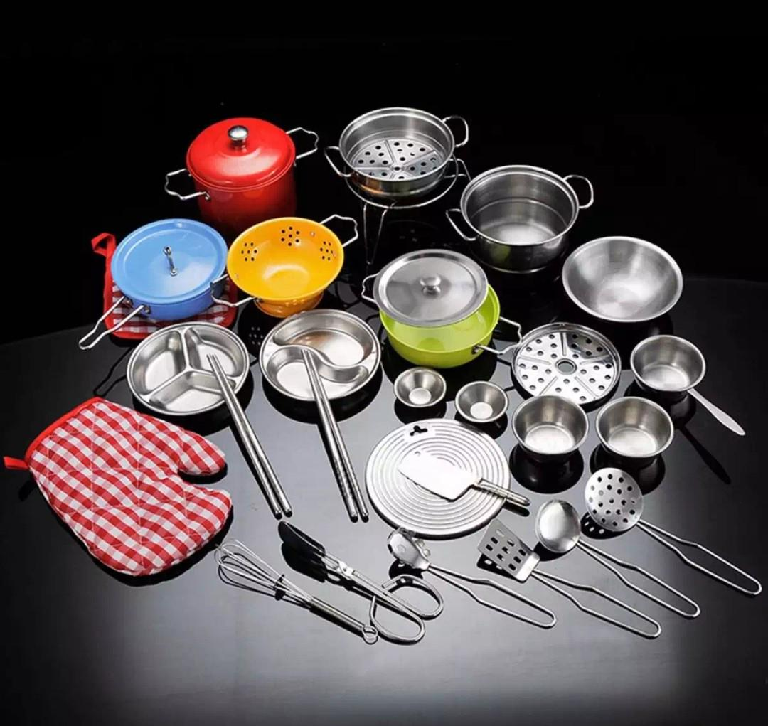 Bn 32pcs Stainless Steel Silver And Coloured Metal Kitchen Cooking
