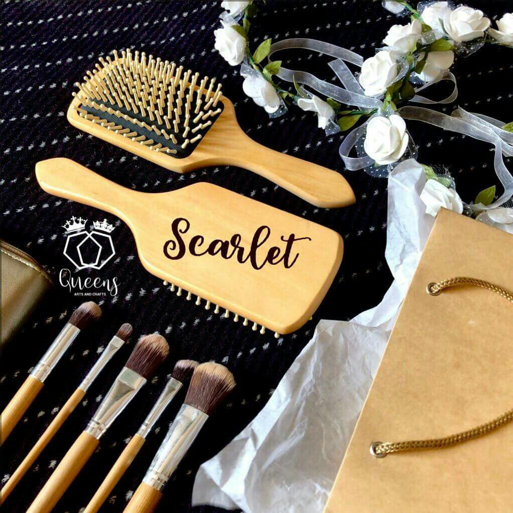 Personalized Wooden Hair Brush Wpouch On Carousell