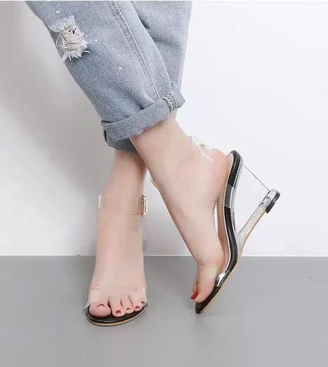 77bb0051812 PO Transparent Anklet Wedge Sandals