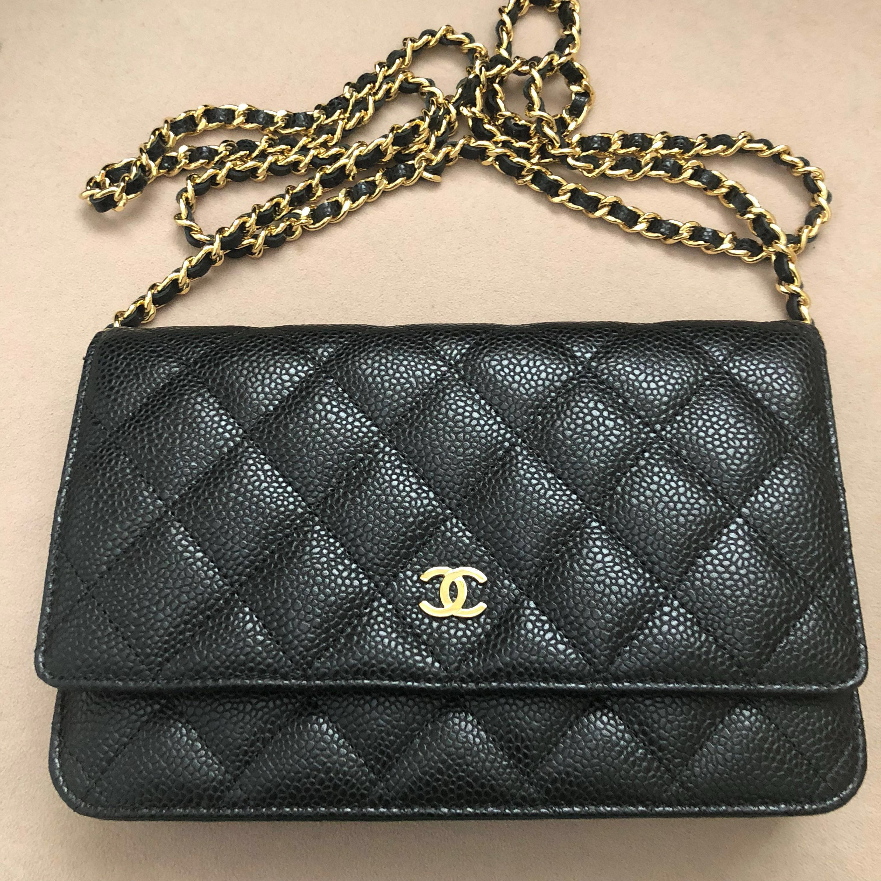 fe6517efff4a Price Reduced-Chanel Wallet On Chain, Luxury, Bags & Wallets, Sling Bags on  Carousell