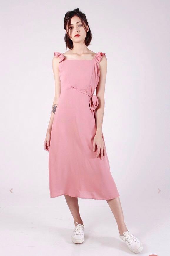 3ed65244f9b96 Ruffle Pink Blush Wrap Dress, Women's Fashion, Clothes, Dresses ...