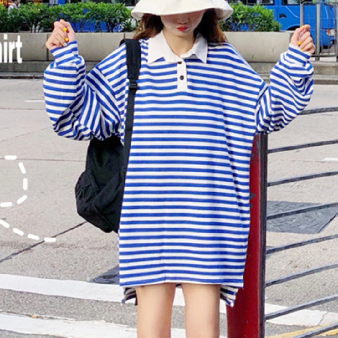 152e0aee3 Stripe Polo Tee Top Ulzzang, Women's Fashion, Clothes, Tops on Carousell