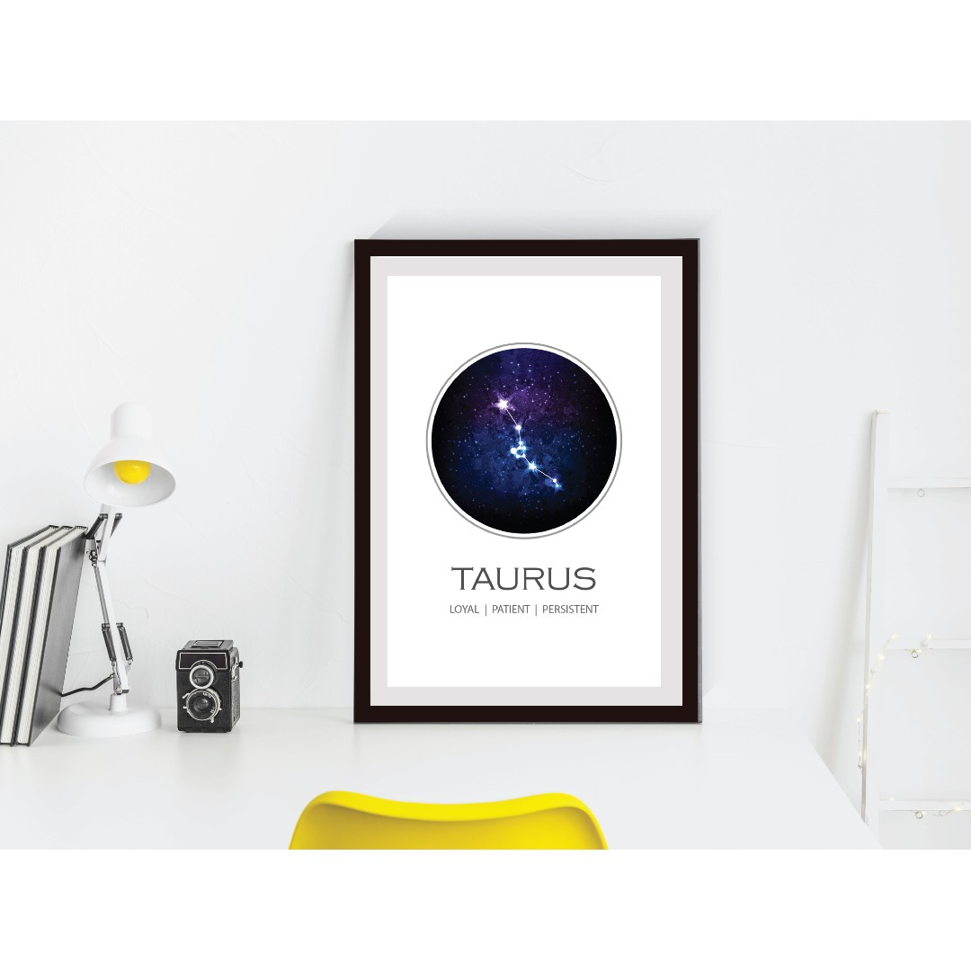 Taurus Constellation Print, Zodiac Gift Taurus, Zodiac Sign
