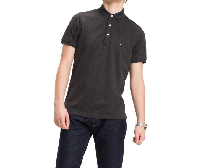a3d4151aff7c Tommy Hilfiger Charcoal   Black Slim Fit Polo Tee Shirt