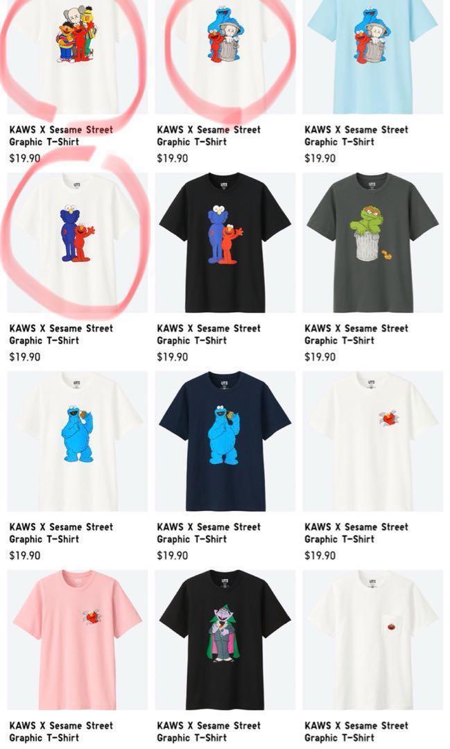 9d1f2112f Uniqlo Sesame Street x Kaws limited ed tops, Men's Fashion, Clothes ...