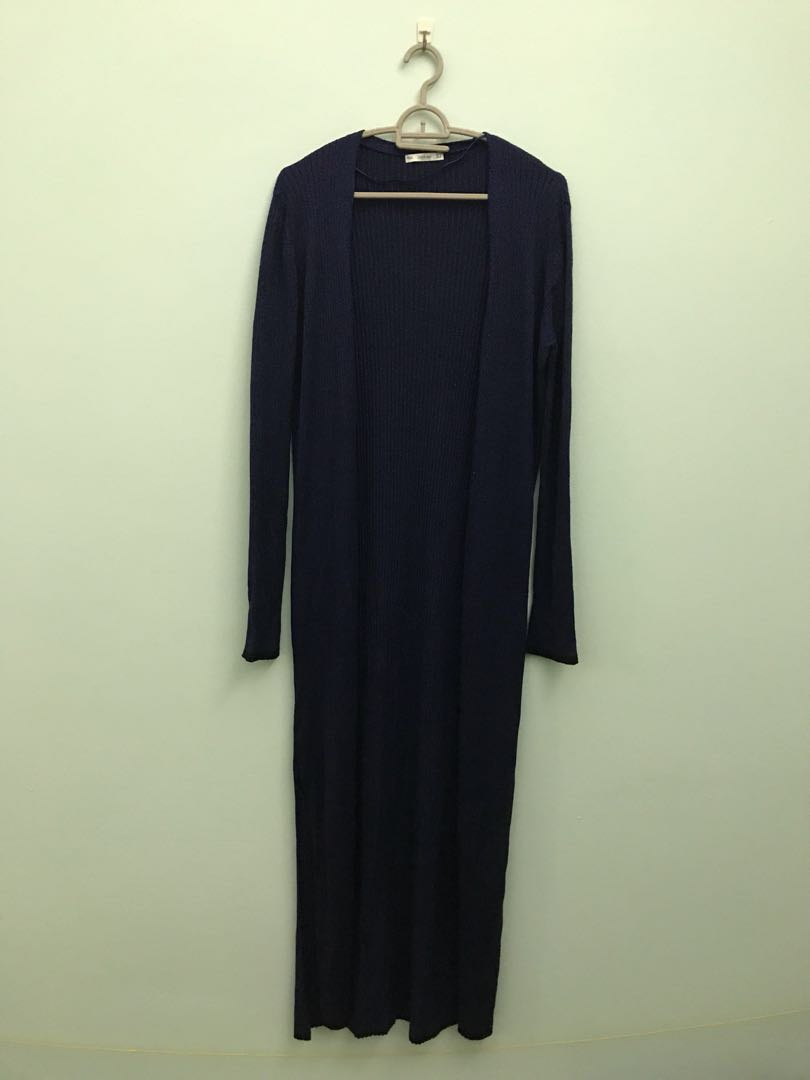 31b7902d2ef ZARA KNIT Dark Blue Long Cardigan