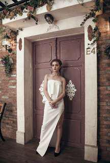 For rent White Gown with high slit