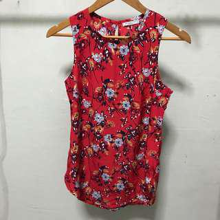 BNWOT Abercrombie Red Floral Sleeveless Top