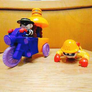 絕版 2000年漢堡神偷上鏈爬行公仔 & 2001年漢堡神偷漢堡三輪車