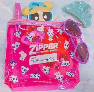 Powerpuff girls ziploc inspired vinyl pvc vanity pouch