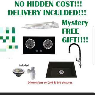 🚚 Hood and hob . Kitchen package . Kitchen granite sink. Granite sink