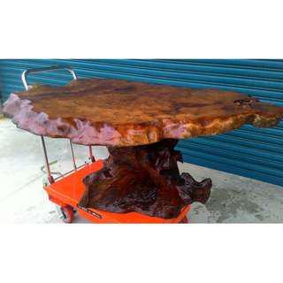 古董 老件 早期 台灣牛樟瘤桌 奇木桌 桌腳也是牛樟 桌面瘤花漂亮 整塊牛樟厚板 泡茶桌 寫字桌