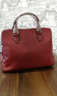 Wine Red Leather Hand Bag