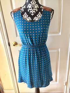 Mine (Anthropologie) Small Blue Brown Summer Dress