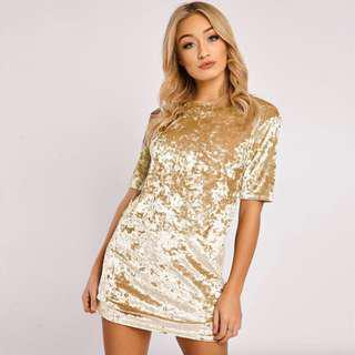 Velvet Dress in Gold