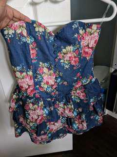 BNWT sweetheart floral Denim top
