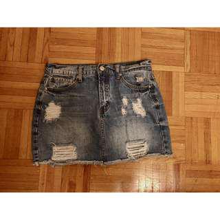 Distress Jeans Demin Skirt