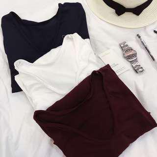 Plain Vneck Shirt Basic V-neck Shirt Oversized Shirt Pocket Tee Maroon V-Neck Blue V-Neck White V-Neck Shirt