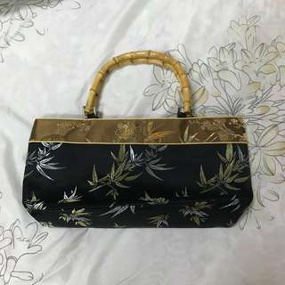 Black Floral Handbag with Bamboo handle