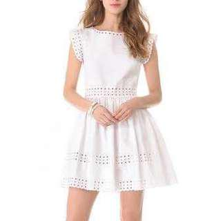 Red Valentino Pique-Knit Sangallo Eyelet Dress