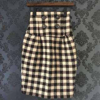 Cue - size 6 - wool skirt - brown beige and black