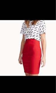 New red pencil skirt