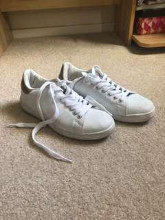 Rubi/Cotton On Plain White Sneakers with Gold Accent