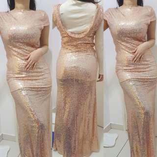 SEQUIN ROSE GOLD DINNER DRESS