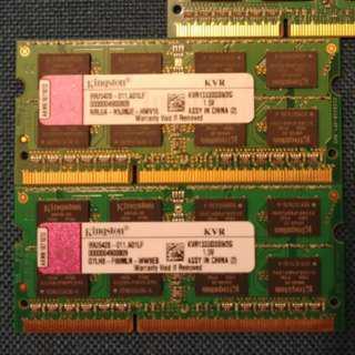 Kingston DDR3 1333MHz 2GB 1.5V SO-DIMM RAM (Notebook SODIMM 4GB 2G 4G 2 4 GB)