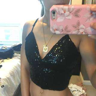 YaYa &co Black sequin crop top Size Small