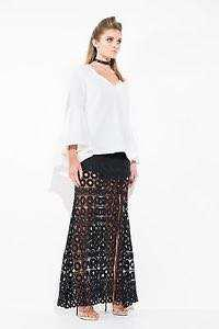 Mossman nothing but trouble white flare sleeve top