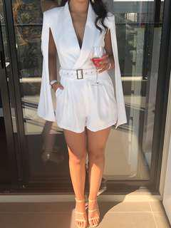 Sheike White Playsuit with attached cape