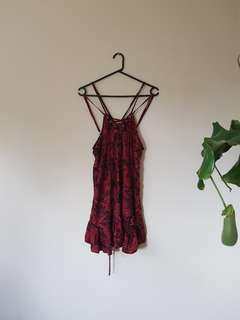 Paisley Red Lace Up Dress
