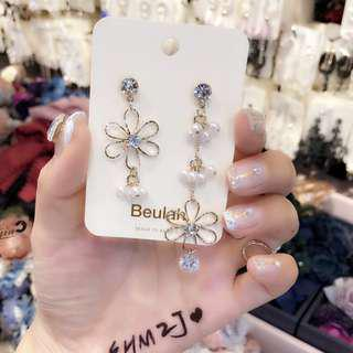 Korea flower pearl earrings earrings 0230